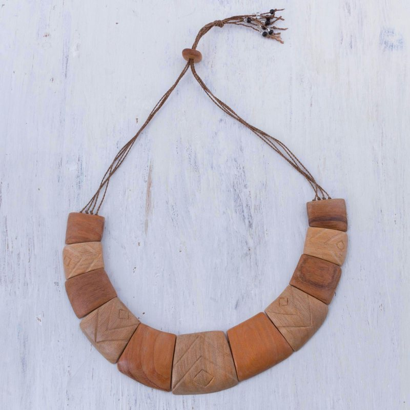 Fierce Nature Handcrafted Brown Wood Statement Necklace from Peruvian artisan Pats