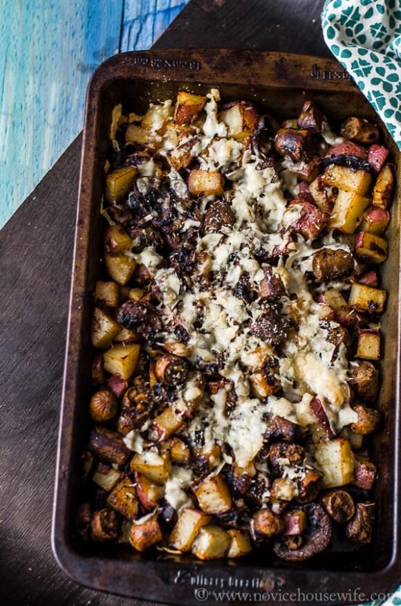 sausage mushroom potato gratin-3