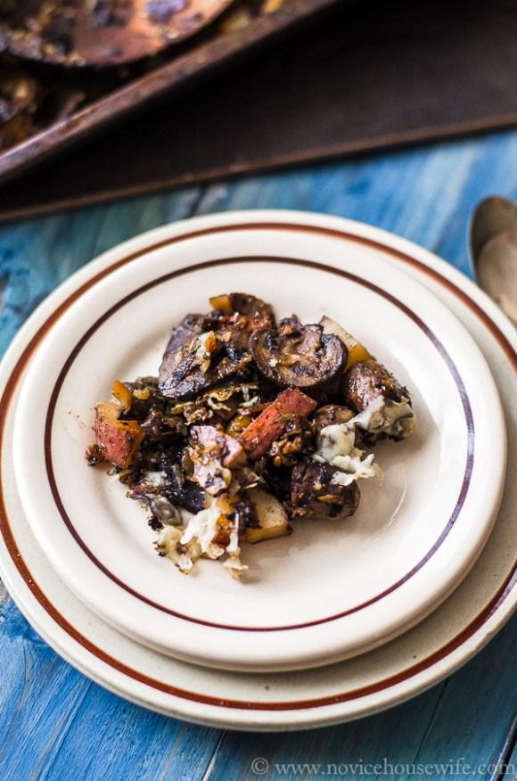 sausage mushroom potato gratin-7