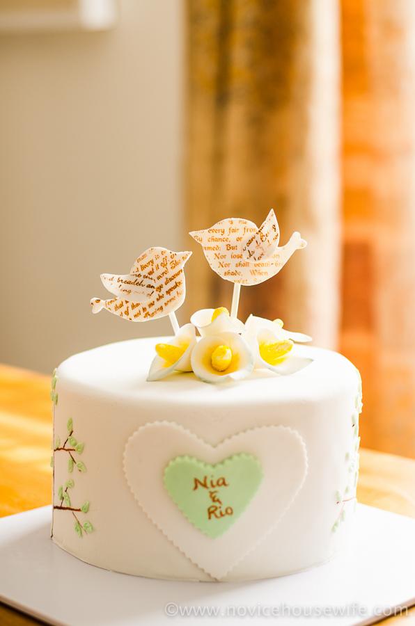 Bird and Tree themed Anniversary Cake - The Novice Housewife