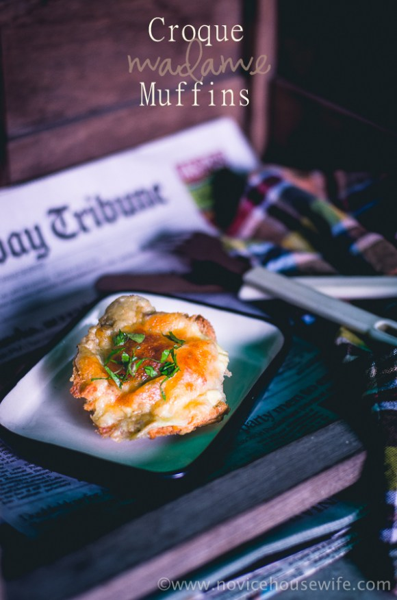 French cheesy-sauced eggs baked in toast muffins | The Novice Housewife