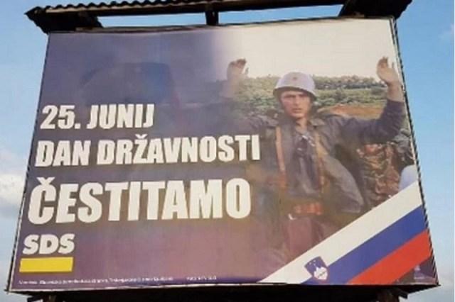 Bilbord sa zarobljenim vojnikom JNA osvanuo u Ljubljani kao čestitka za Dan državnosti