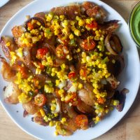 smashed potatoes with sweet corn relish