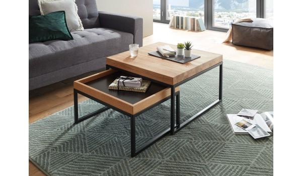 table basse carree encastrable bois et metal