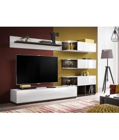 meuble tv design mural blanc laque et