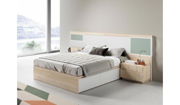 lit avec rangement 160x200 cm avec chevets tete de lit a led