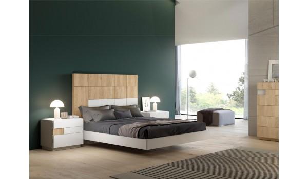lit adulte design en bois de teck et blanc