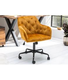 chaise de bureau velours jaune moutarde
