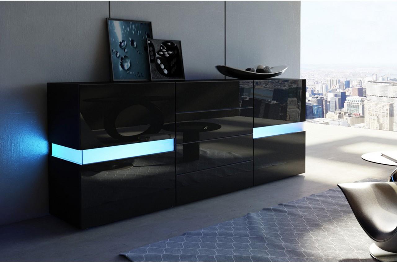 Buffet Noir Laqu Design Clairage LED Pour Salle Manger