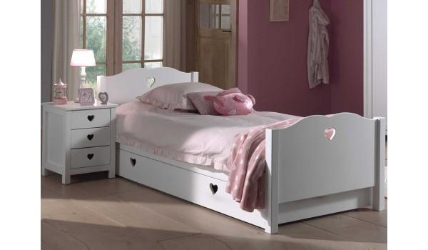 lit fille blanc avec tiroir