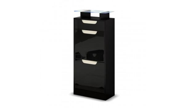 petit meuble a chaussures noir 2 portes 1 tiroir