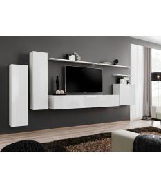 meuble de salon tv suspendu blanc pour