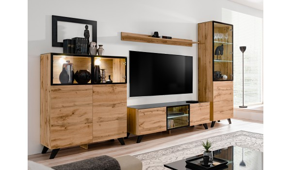 ensemble tv en bois moderne pas cher