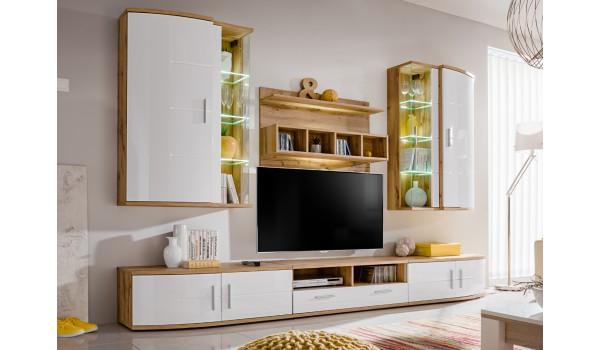 meuble tv design ensemble moderne blanc bois