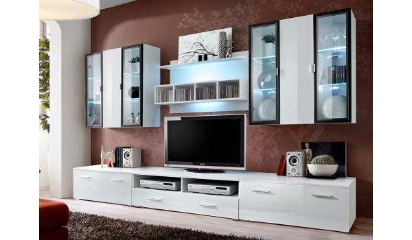 Ensemble Tv Mural Design Blanc Led Pour Salon