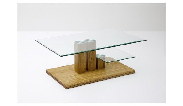 table basse de salon bois massif et verre