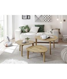 3 tables gigognes bois chene massif