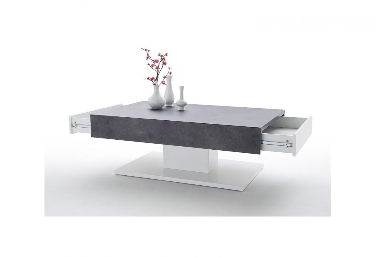 Table Basse Blanche Amp Gris Bton Design Pour Salon