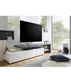 meuble tv laque design blanc gris