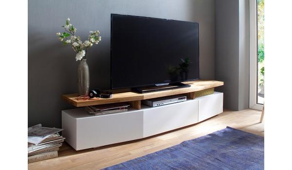 meuble tv blanc chene massif