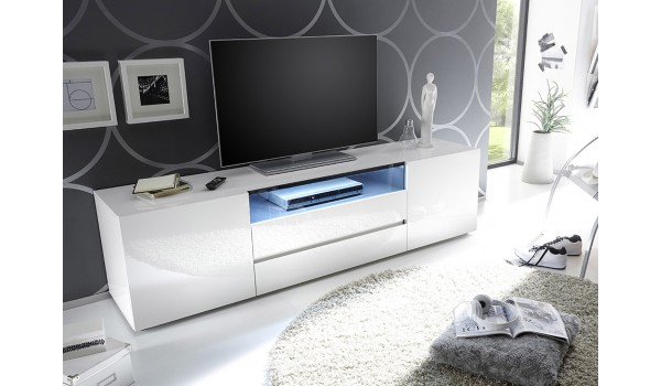 meuble tv 185 cm blanc laque design led blanc