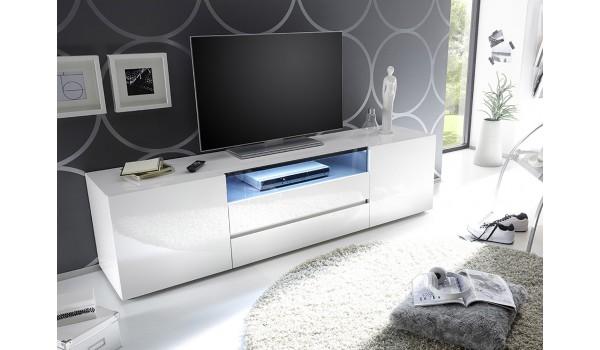 meuble tv 185 cm blanc laque design led blanc
