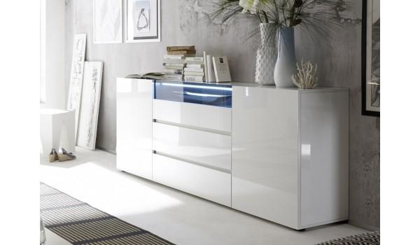 buffet de sejour blanc laque design led blanc