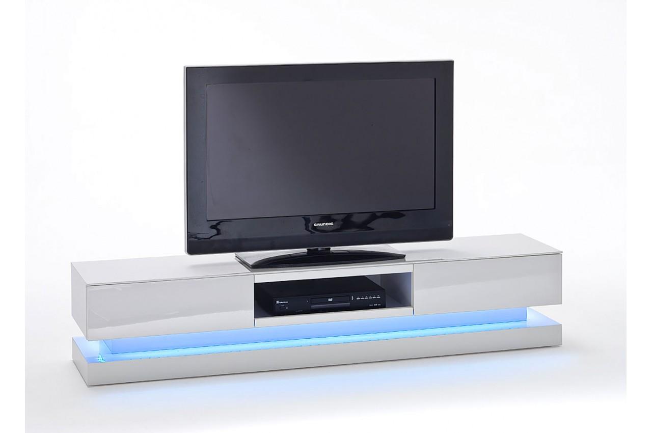 Meuble TV LED Laqu Blanc Design Pour Meuble Tv