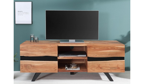 meuble tv design bois massif et metal 160 cm acacia