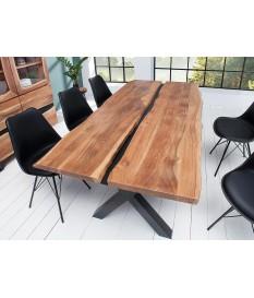 table a manger bois massif et metal noir