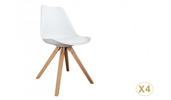 chaise blanche et bois scandinave pas cher
