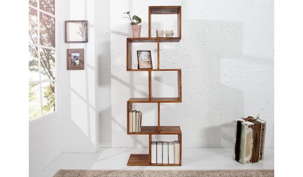 bibliotheque etagere en bois massif verni
