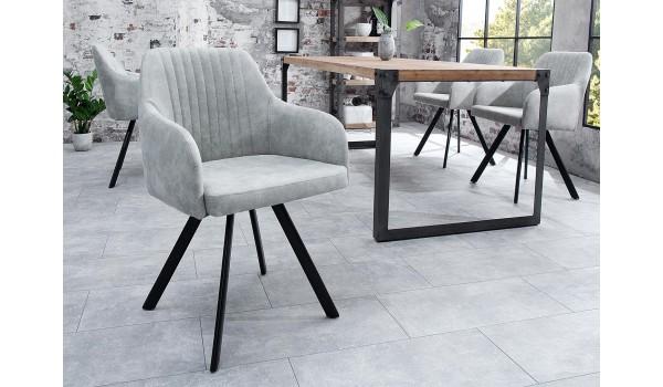 chaise contemporaine gris clair pieds metal noir
