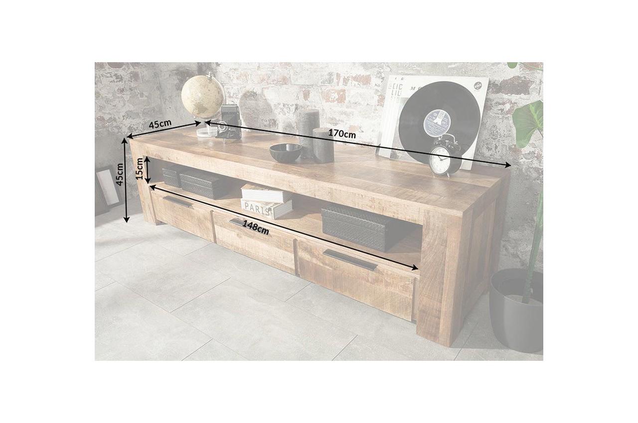 meuble tv en bois massif 170 cm pour
