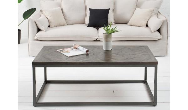 table basse bois vieilli et fer forge rectangulaire