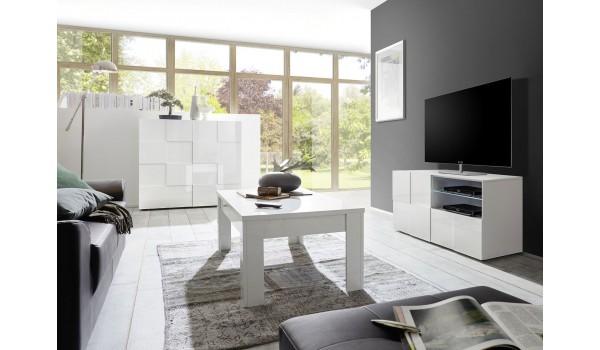 salon complet blanc laque meuble tv table basse commode haute