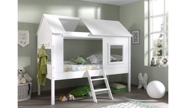 lit mi hauteur blanc theme cabane