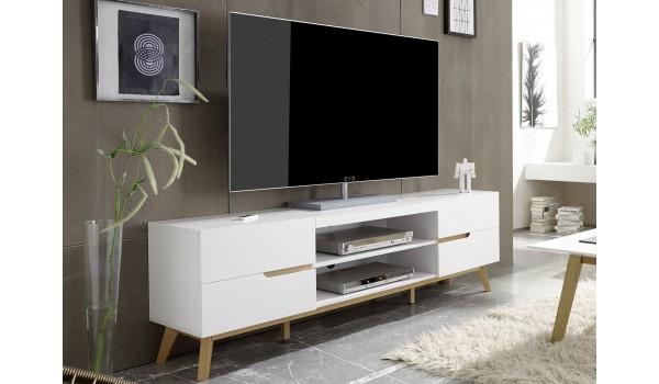 meuble tv moderne blanc et bois 169 cm