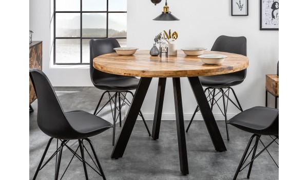table ronde en bois massif de manguier et pied metal