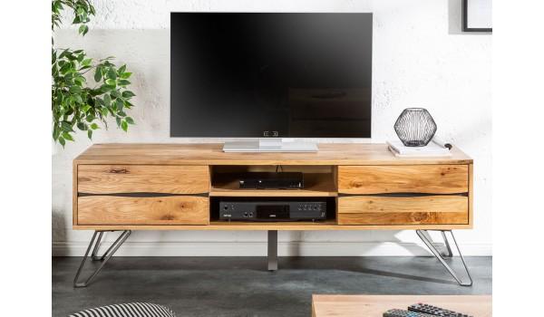 meuble tv en bois et metal industriel 160 cm