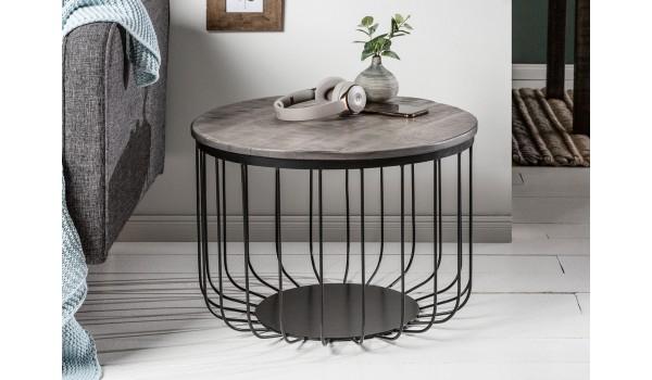 table basse ronde bois grise et metal