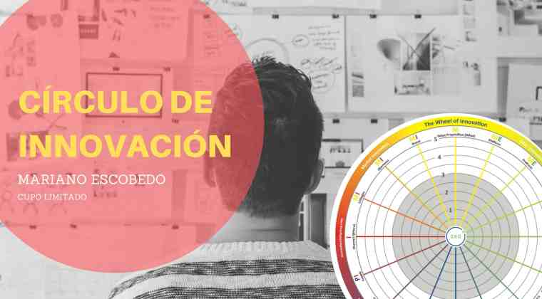 Edición de una imágen que muestra la rueda de innovación y anuncia un círculo de innovación