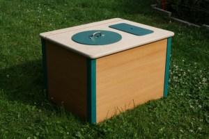 Die Bunte, blaugrün- Biokontrollierte Einstreutoilette für Innenräume