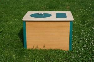 Die Bunte, blaugrün- Komposttoilette für Innenräume