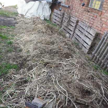 Komposthaufen Vorbereitung mit einer Schicht strukturierendes Material zur Belüftung des Komposts