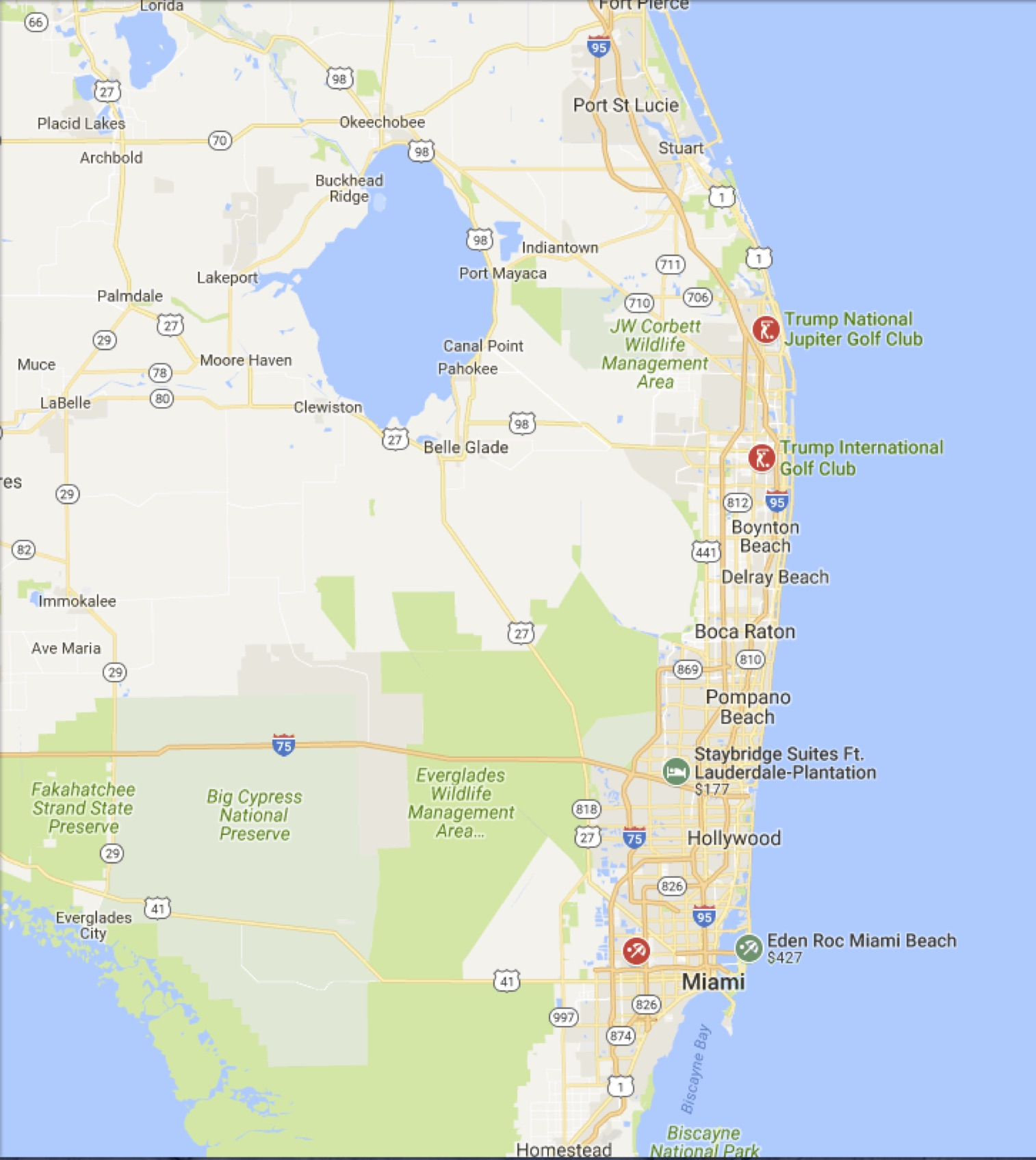 Ave Maria Florida Map.Map Of Trump S Three Florida Golf Properties Election 2016 No Way