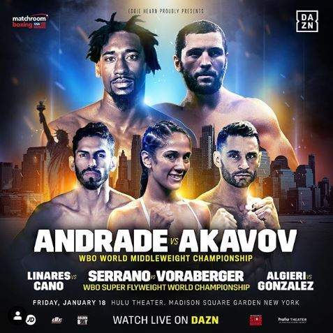 Watch Andrade vs Akavov, Serrano vs Voraberger, Jorge Linares, and Chris Algieri Live Online