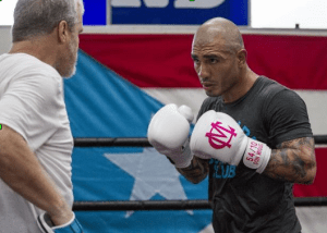 Miguel Cotto hitting mitts with Freddie Roach