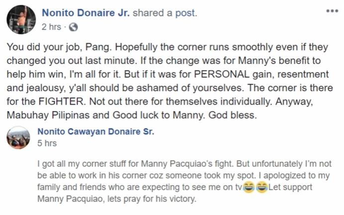 Nonito Donaire Sr. dropped last minute from working Pacquiao's corner