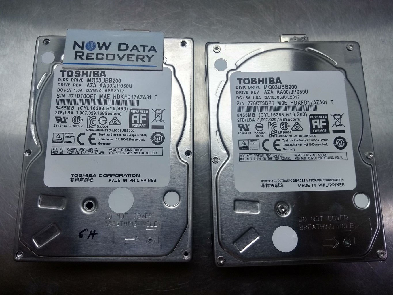 Toshiba Data Recovery from 2 TB USB Hard Drive
